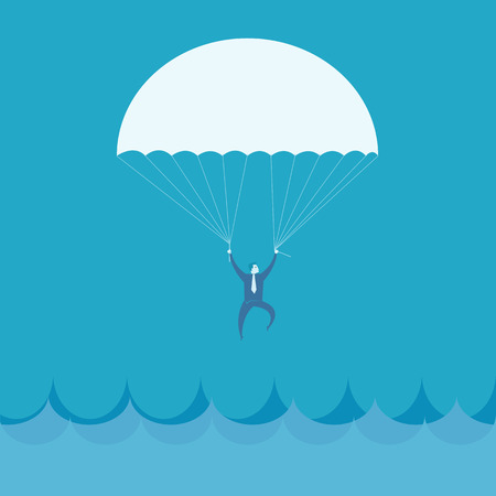 business survival: Businessman flying into the sea Illustration