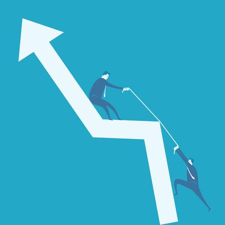 hombre cayendose: Hombre de negocios subir gráfico positivo