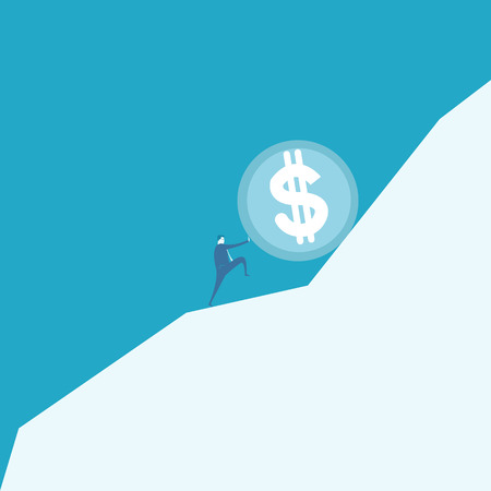 sisyphus: Business man pushing a huge coin up hill