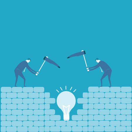 bedrock: Business man dig an idea