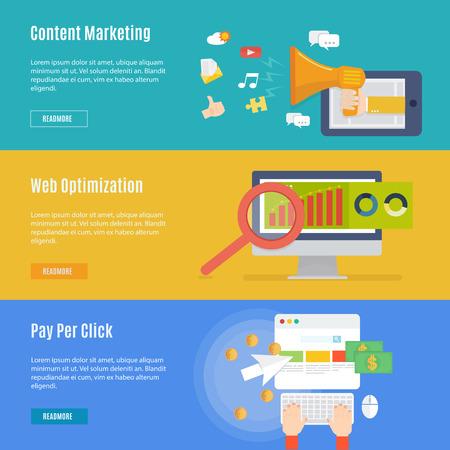 평면 디자인, 인터넷 마케팅 개념 아이콘의 요소
