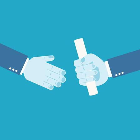 baton: Handing over a paperwork baton