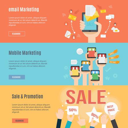 sjabloon: Element template set van marketing concept pictogram in plat design Stock Illustratie