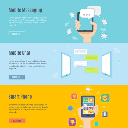 texting: Element set of mobile concept icon in flat design