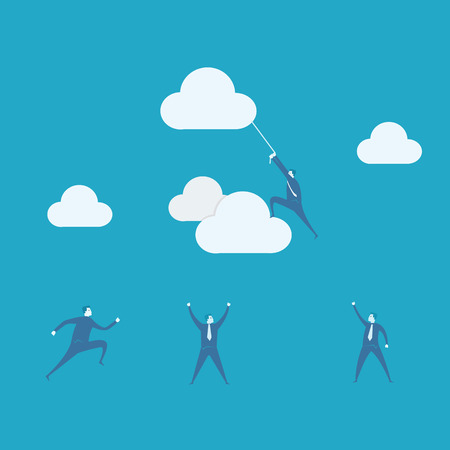 Businessman climbing rope attached to cloud