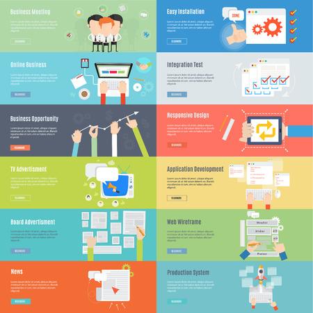 フラットなデザインのビジネスと web の概念アイコンの見出し要素  イラスト・ベクター素材