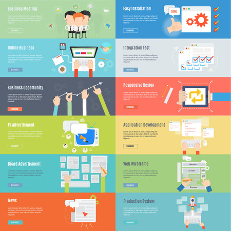 email marketing: Banner Element of business and web concept icon in flat design