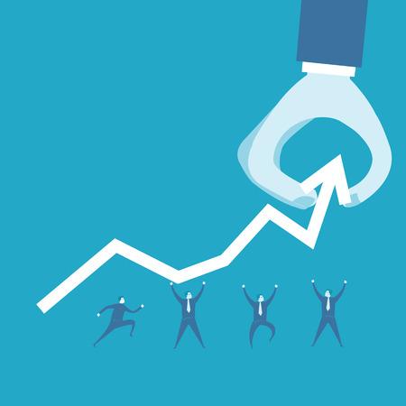 ビジネスの男性と肯定的なグラフ