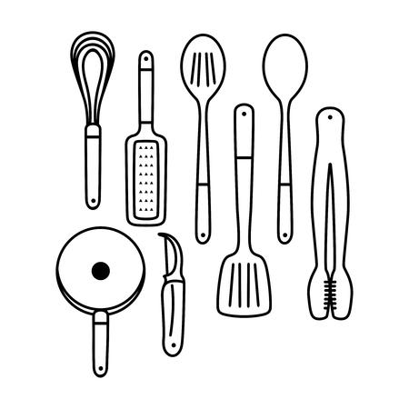 outline cooking utensils for your brand Illustration