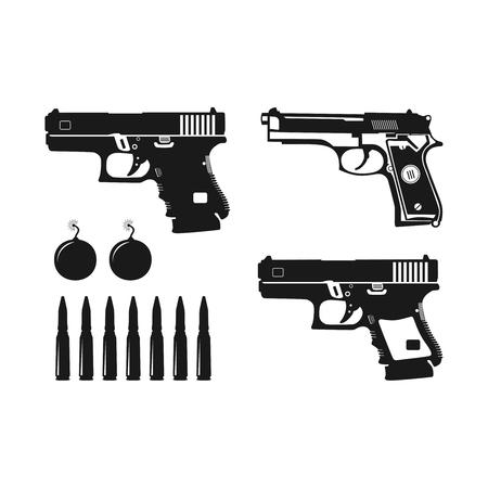 Diseños de pistola y bala de varios tipos.