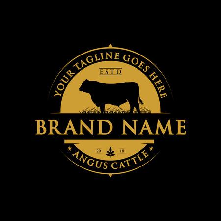 angus cattle farm label design 版權商用圖片 - 123150377