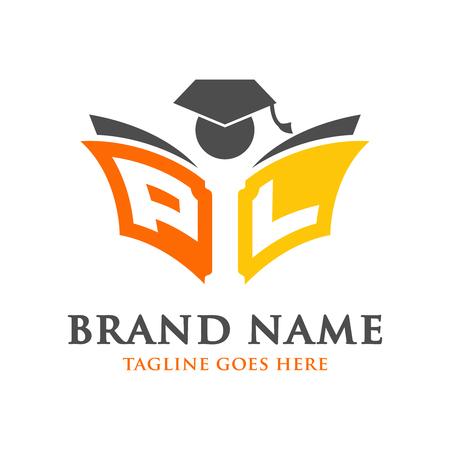 educational book logo initials PIL your company Ilustração