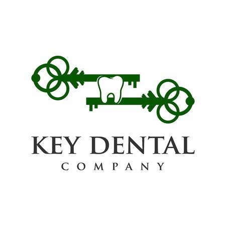 key dental logo four your company Ilustração