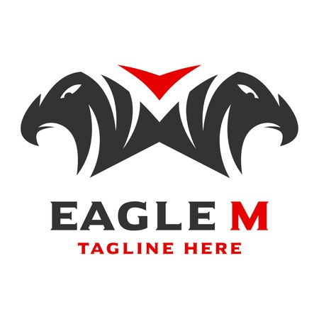 logo 2 eagle head initials M your company