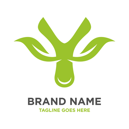 green leaf logo initials Y your company Çizim