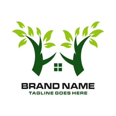 home logo with trees your company Stock Illustratie
