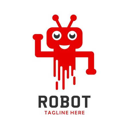 robot logo four your company Stock Illustratie