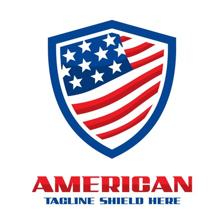 American flag shield logo your company