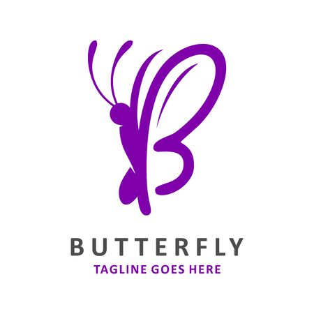 initial logo B butterfly your company