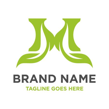 green leaf logo initials M your company Stock Illustratie