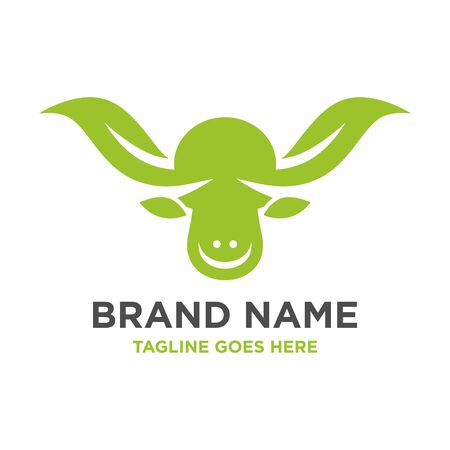 cow head leaf logo your company Stock Illustratie