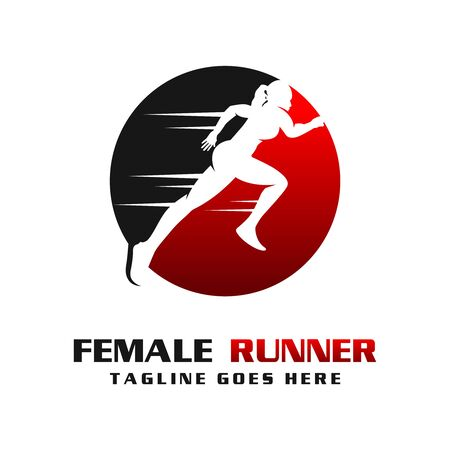women's runner logo your company  イラスト・ベクター素材