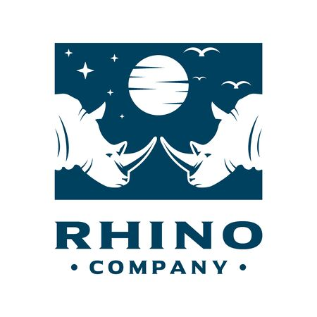 logo design of two rhinoceros heads