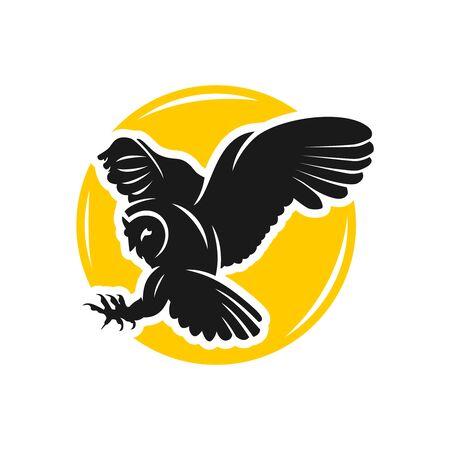 owl logo design with circles  イラスト・ベクター素材