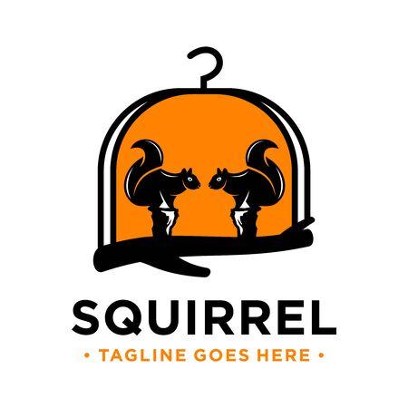 squirrel basket house logo design template