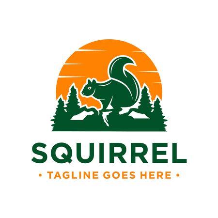 squirrel and mountain logo design template