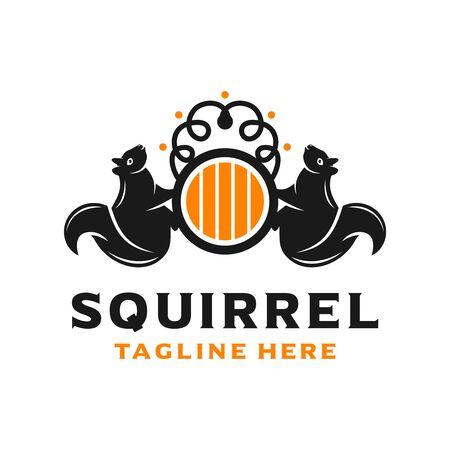 squirrel shield logo design template