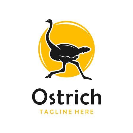 ostrich silhouette logo design template