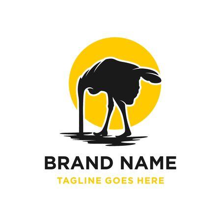 African ostrich logo design eggs