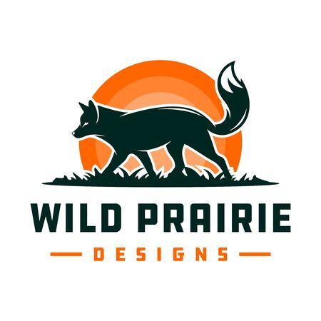 Fox animal logo design on the grass