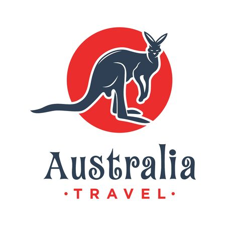 Kangaroo animal logo design with a circle