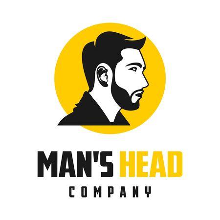 fashion men's hair and beard logo design