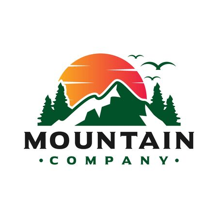 logo design of sunset views on the mountain