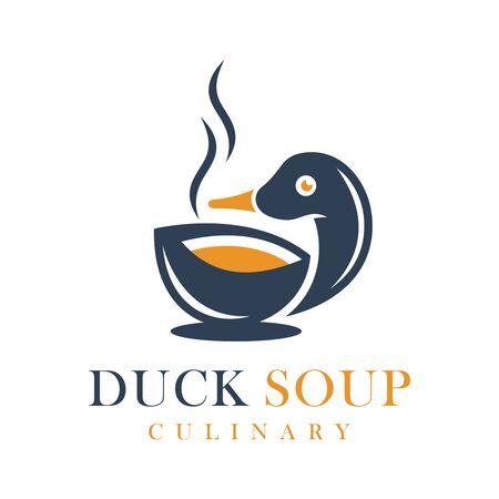 Duck soup food logo design Illusztráció