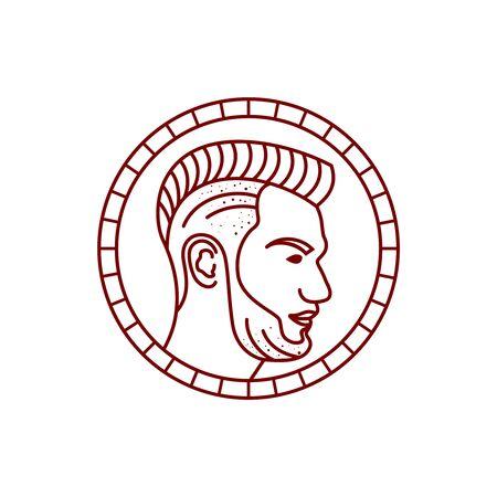 logo design outline men's haircut circle