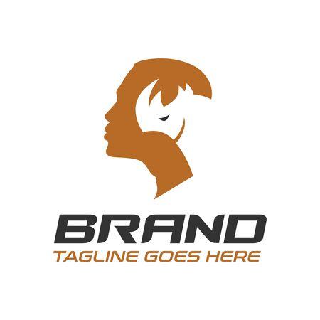 male and rhino logo design Illusztráció