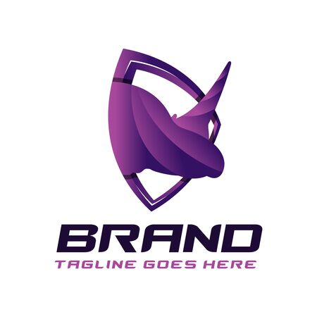 rhino animal shield logo design
