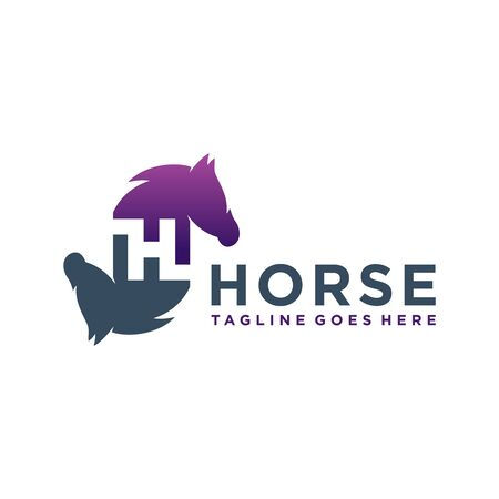 animal logo design horse letter H your company