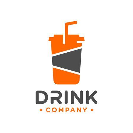 vector plastic beverage glass logo design