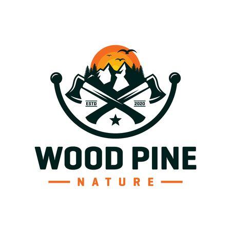 Pine wood logo design on the mountain Illustration