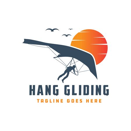 Hang gliding flying sports logo design