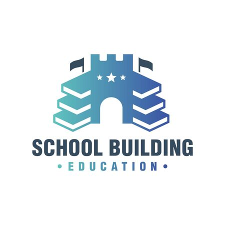 school building book logo design Illusztráció