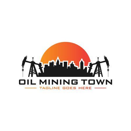 petroleum mining city logo design