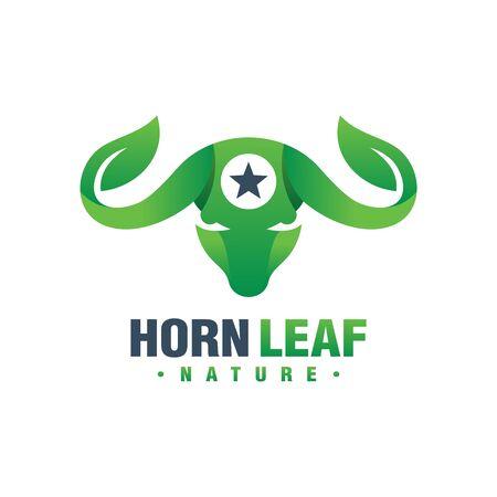 Bull horn leaf logo design