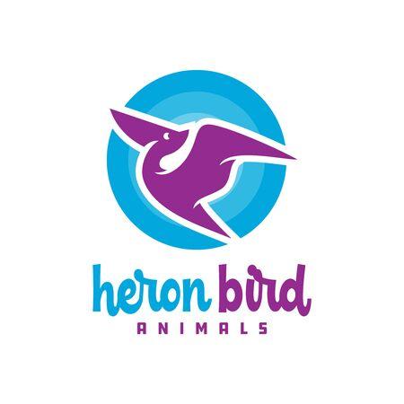 modern heron animal logo design