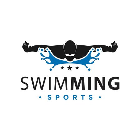 vector logo design swimming in water sports
